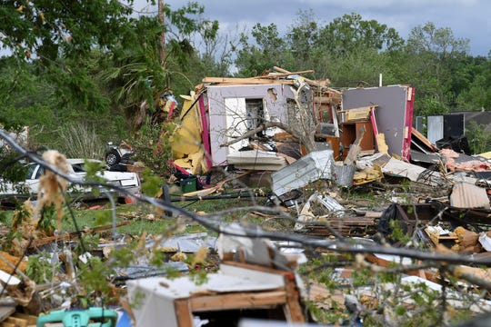 More than 30 homes were damaged when severe weather struck Franklin, Texas, Saturday, April 13, 2019. The National Weather Service warns of a second round of severe weather across Texas from April 17.