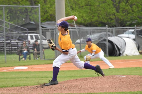 Alexandria Senior High's Tyler Pope throws a pitch against Ouachita Parish High School Wednesday, April 17, 2019. Ouachita won 7-6.
