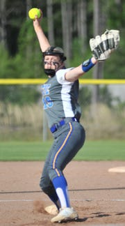 Buckeye pitcher Layni Smith (19) fires a pitch during her team's win against Lakeshore Tuesday.