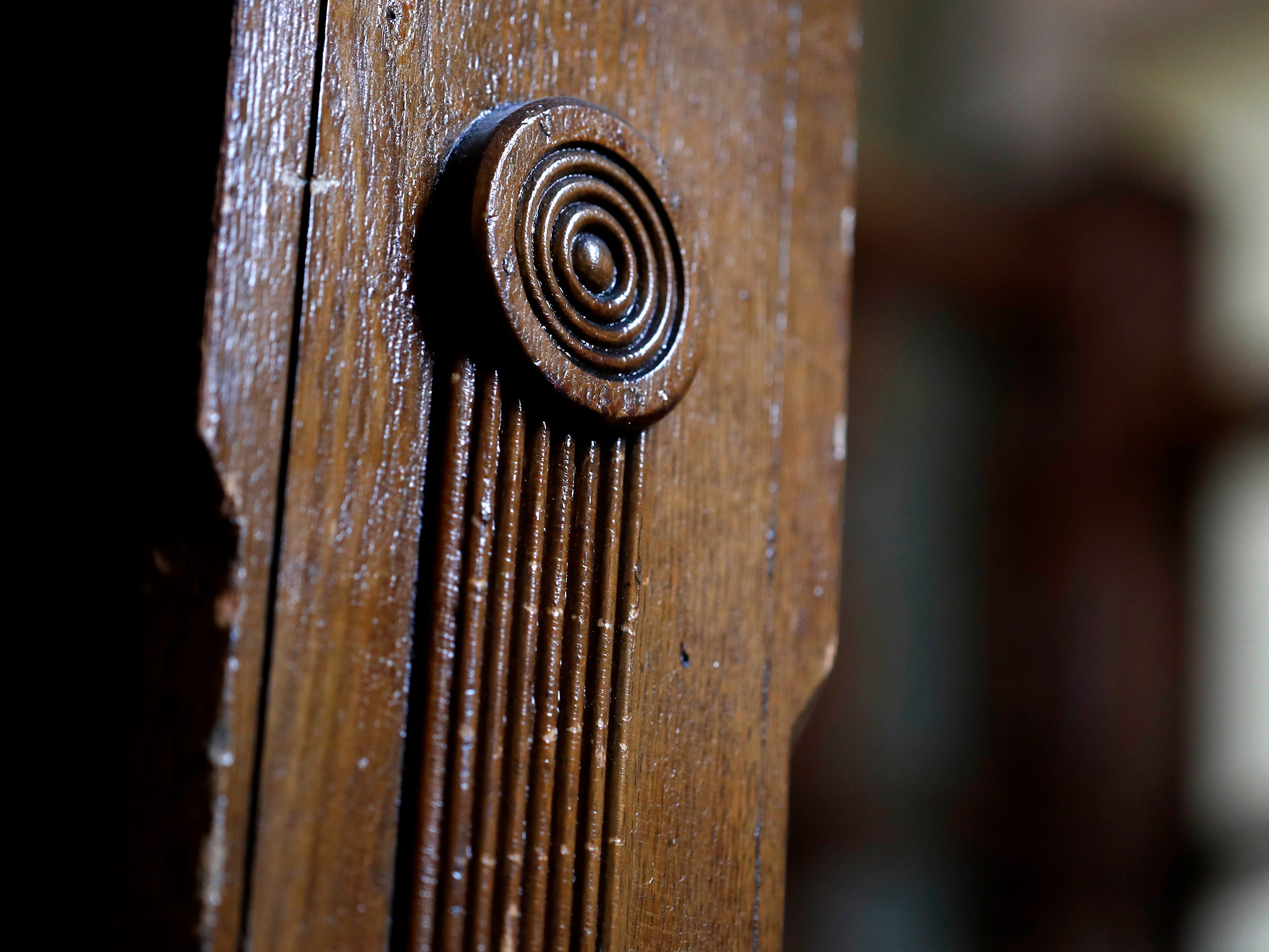 A woodworking detail on the grand staircase original to the building that houses Gabriel Furniture which was built in 1888 Thursday, April 18, 2019, in Appleton, Wis. Danny Damiani/USA TODAY NETWORK-Wisconsin