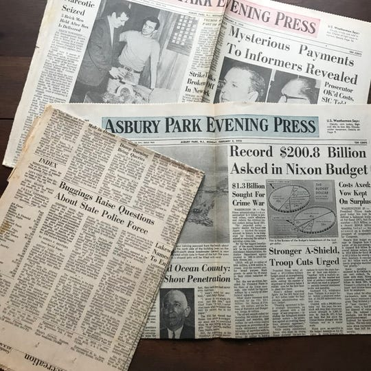 Old issues of the Asbury Park Press featuring Adrian Heffern's byline.