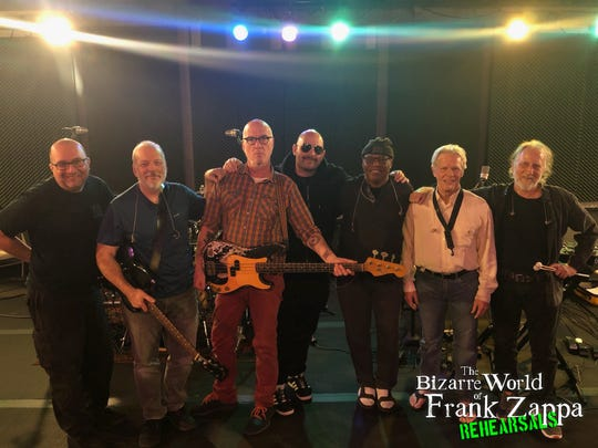 """Ahmet Zappa, center, with the band for """"The Bizarre World of Frank Zappa."""""""