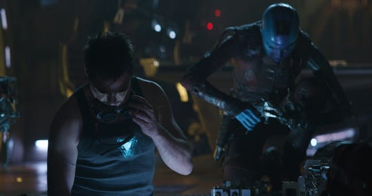 "From left, Tony Stark/Iron Man (Robert Downey Jr.) and Nebula (Karen Gillan) in a scene from Marvel Studios' ""Avengers: Endgame"" (2019)."