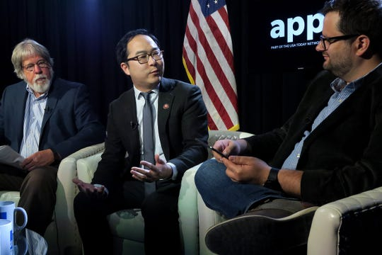 US Congressman Andy Kim (center) participates in a Facebook live show with Asbury Park Press Editorial Page Editor Randy Bergmann and reporter Mike Davis from the Press' Neptune studio Tuesday, April 16, 2019.