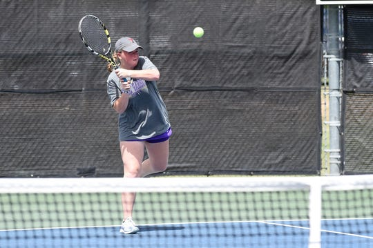 Wylie's Elle Schroeder competes during the Region I-5A quarterfinals in Lubbock on Wednesday, April 17, 2019. Leighton Alford and Schroeder fell in three sets.