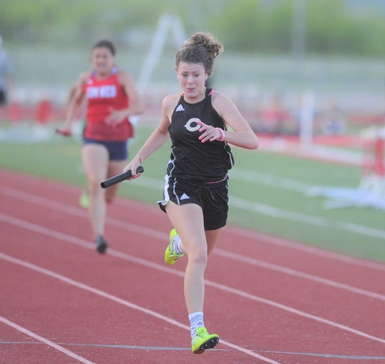 Clyde sophomore Peyton Warren comes down the stretch in the 800 relay at the Districts 5/6-3A area track meet Wednesday, April 17, 2019, at Indian Stadium in Tuscola.