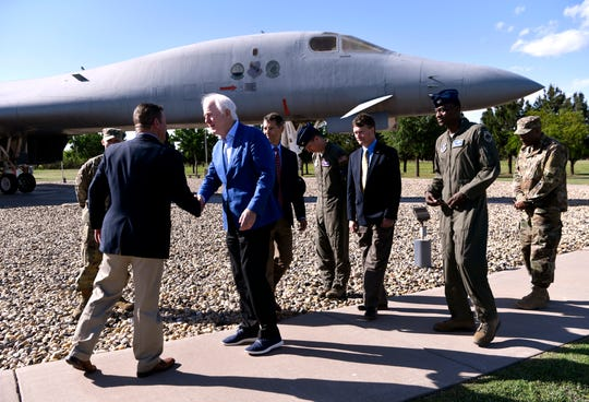 U.S. Senator John Cornyn toured Dyess Air Force Base Thursday April 18, 2019 and held a brief press conference in front of the B-1 bomber static display near the front gate. Cornyn spoke briefly about the future of the base, praising the decision to base the upcoming B-21 bomber at Dyess in the coming decade.