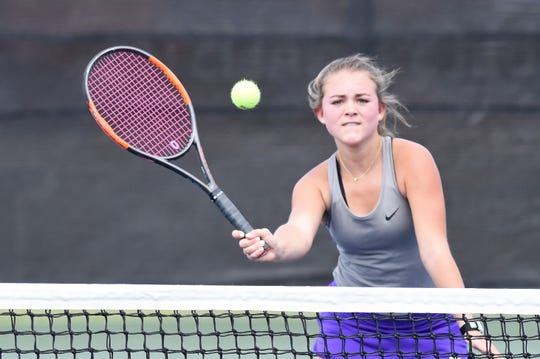Wylie's Leighton Alford competes during the Region I-5A quarterfinals in Lubbock on Wednesday, April 17, 2019. Alford and Elle Schroeder fell in three sets.