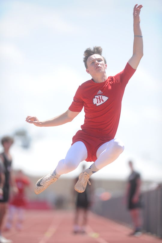 Jim Ned's Caden Martin won the long jump with a distance of 21 feet, 2 inches at the Districts 5/6-3A area track meet Wednesday, April 17, 2019, at Indian Stadium in Tuscola.