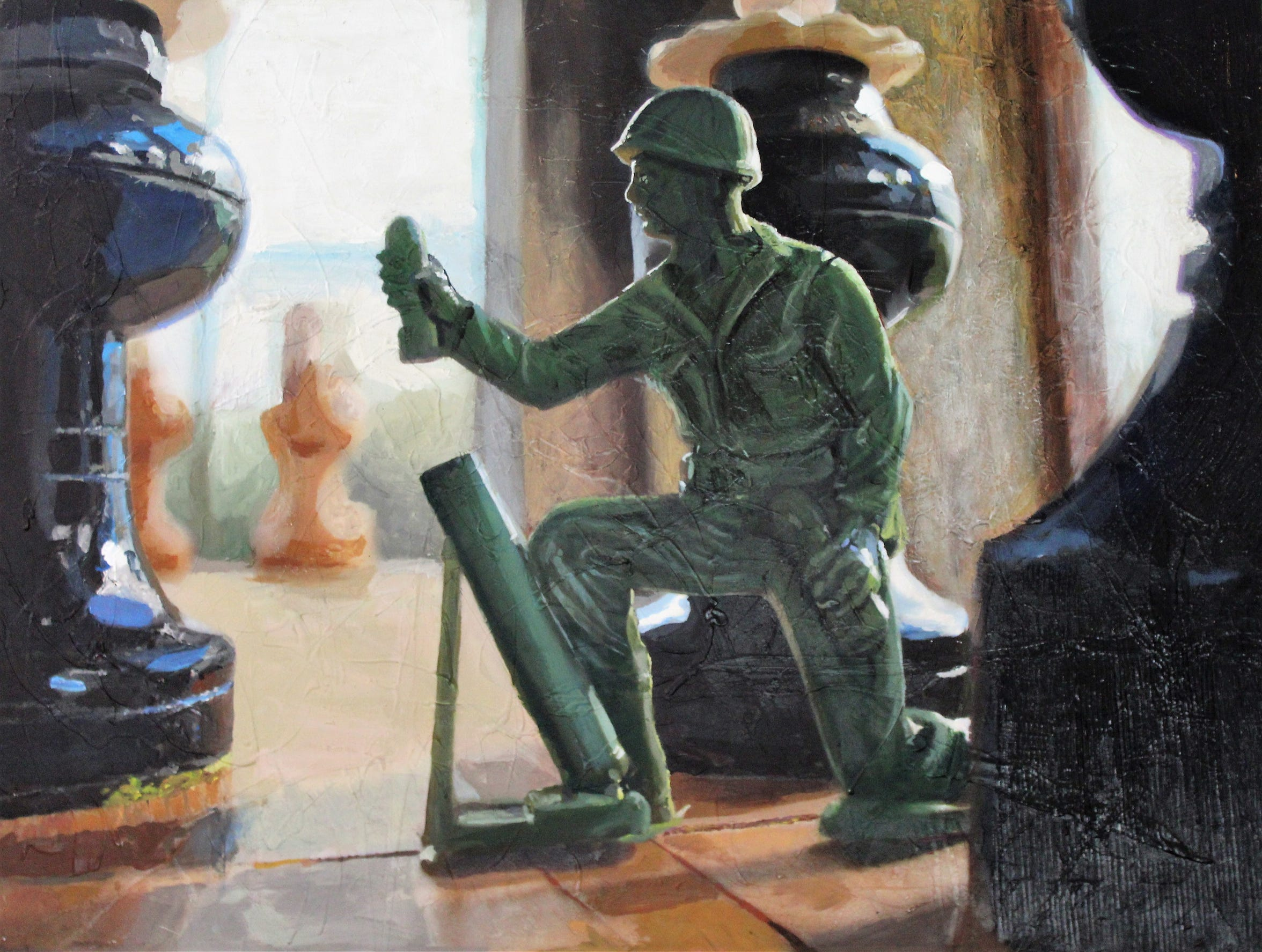 Matt Aston is a chess fan but playfully inserted an Army man onto the board in this painting.