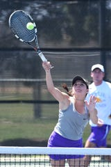 Wylie's Analeah Elias is making her third trip to the spring tennis state championships. After competing in girls doubles and singles, Elias is going with Lane Adkins in mixed doubles this year.