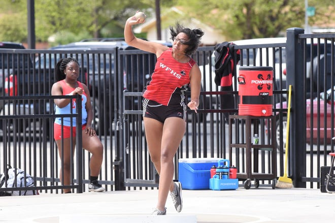 Wichita Falls High's Jada Jackson won the shot put with a 38-6 Thursday at the Area 3/4-5A Meet at Lubbock's Lowrey Field.