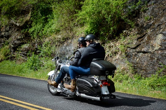 A motorcycle makes its way down the Blue Ridge Parkway in this April 18, 2019 photo. A South Carolina man died in a motorcycle accident June 15 on the parkway near Mount Mitchell State Park.