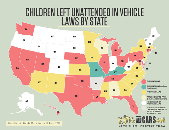 Laws that specifically prohibit leaving children alone in cars vary drastically by state.