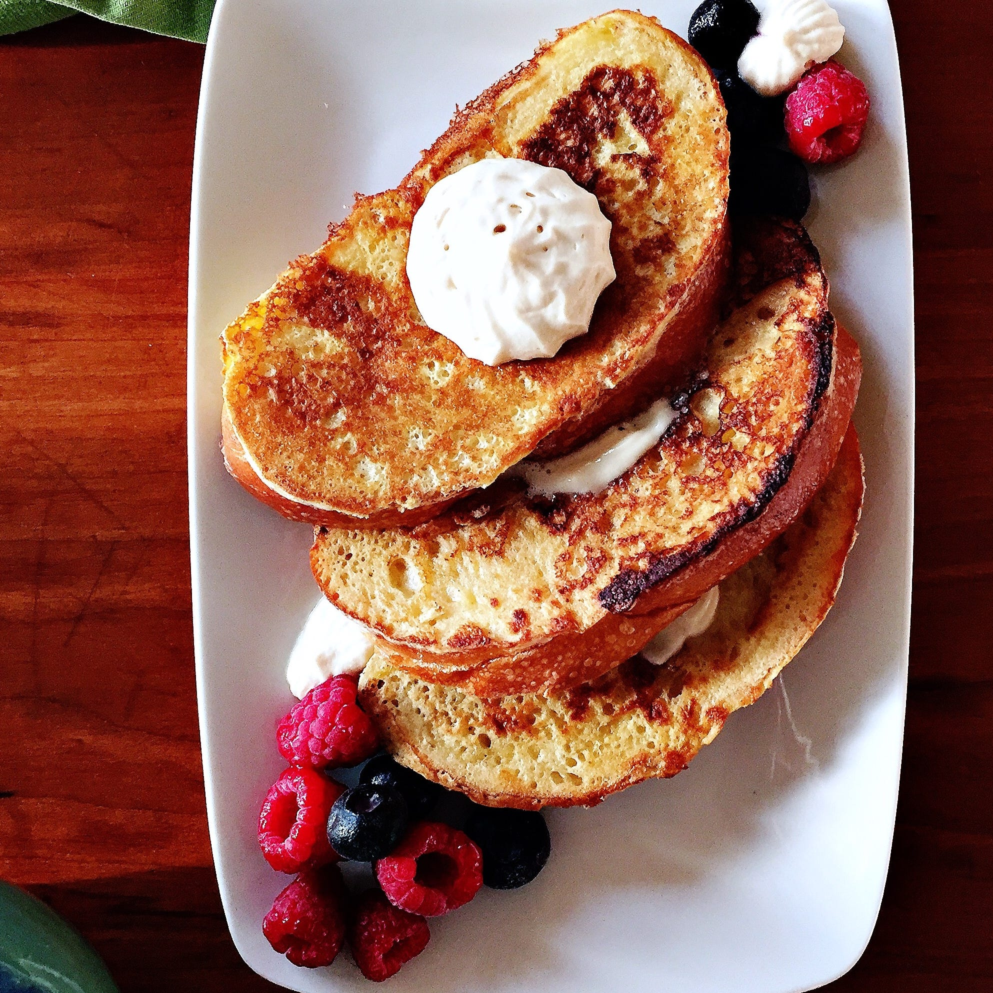 Classic French toast with malted maple whipped cream