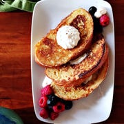 A dollop of malted maple whip cream over a slice of French toast and some fruit makes more a memorable breakfast.
