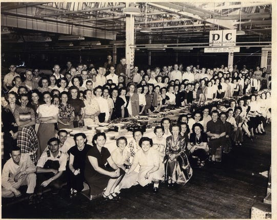 Beacon Mills Employee 1939 first Christmas dinner in Spinning Filling Warp Room 180