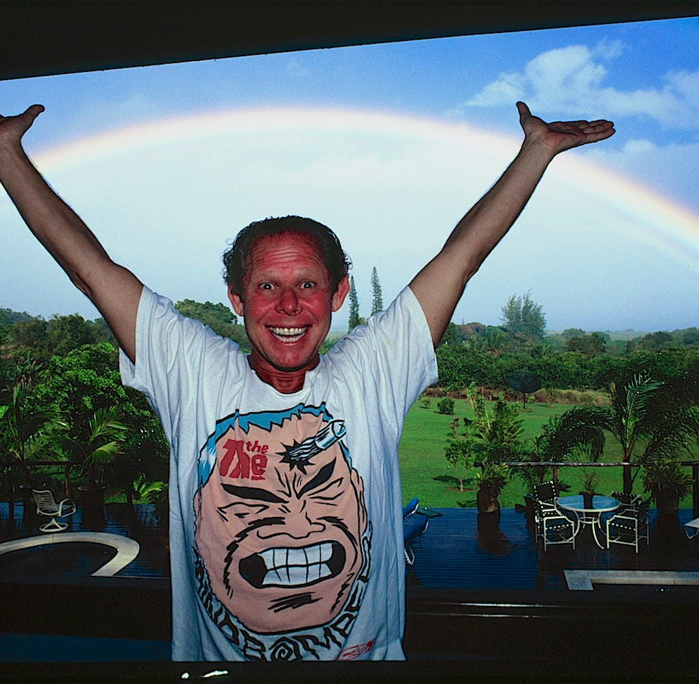 Gary Propper, shown at his Maui estate in the 1990's. The legendary surfer and entertainment artist died in March, with his memorial paddle-out this weekend at the Easter Surf Festival expected to draw more than 1,000 people.