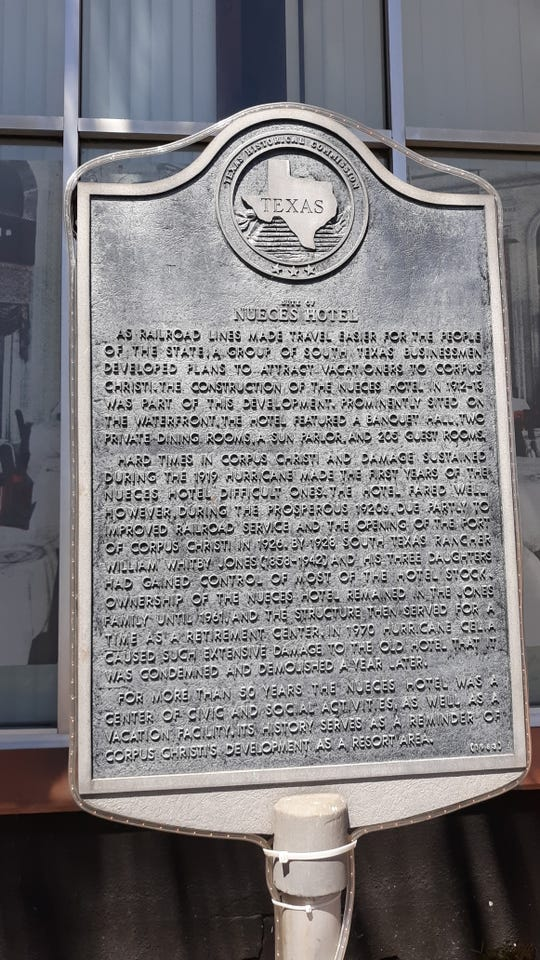The historical plaque outside the Hotel Corpus Christi Bayfront. The distinctive building at Water and Peoples streets has been for sale. The asking price was $6.9 million.