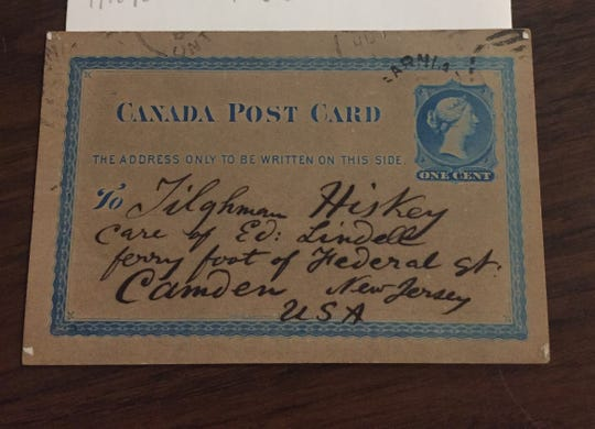 Whitman addressed this postcard to Tilghman Hiskey, a ferryman and friend in Camden. The postcard is part of the Whitman collection at the Camden County Historical Society.