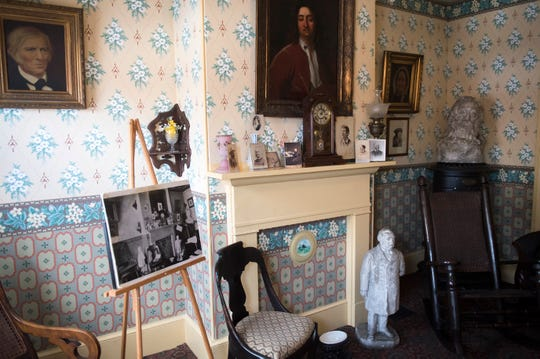 The restored version of Walt Whitman's front parlor room, as seen Wednesday, April 17, 2019 in Camden, N.J.