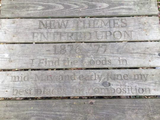 Walt Whitman's verse is etched into the boardwalk of Historic Crystal Springs, a park in Laurel Springs. Whitman spent many days of his later life enjoying the natural beauty of the place.