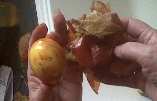 Lisa Barlage and her family use natural dyes to color Easter eggs.