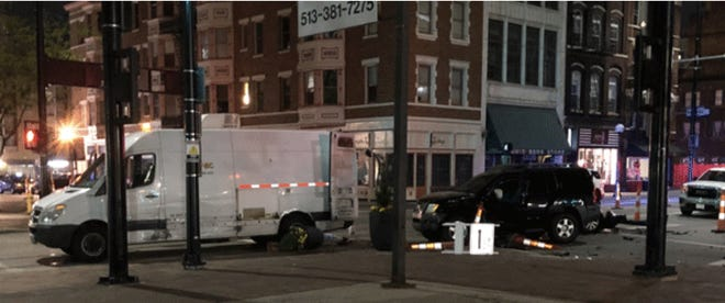 A utility worker's leg was severed in a crash at 8th and Main streets in downtown Cincinnati early Thursday, police said.