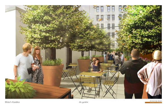 A rendering of the garden space at The View at Shires' Garden, Downtown