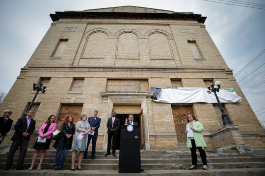 Cincinnati Mayor John Cranley delivers remarks as city and local officials kickoff a $10-million renovation of a historic Masonic lodge at 3301 Price Ave. in East Price Hill, Thursday, April 18, 2019. The Masonic Lodge will complement other investment in the neighborhood, with completion expected in spring 2020, according to the city. The City of Cincinnati provided a $3 million capital grant.