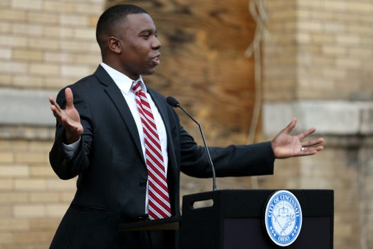 Cincinnati City Councilman Jeff Pastor delivers remarks as city and local officials kickoff a $10-million renovation of a historic Masonic lodge at 3301 Price Ave. in East Price Hill, Thursday, April 18, 2019. The Masonic Lodge will complement other investment in the neighborhood, with completion expected in spring 2020, according to the city. The City of Cincinnati provided a $3 million capital grant.