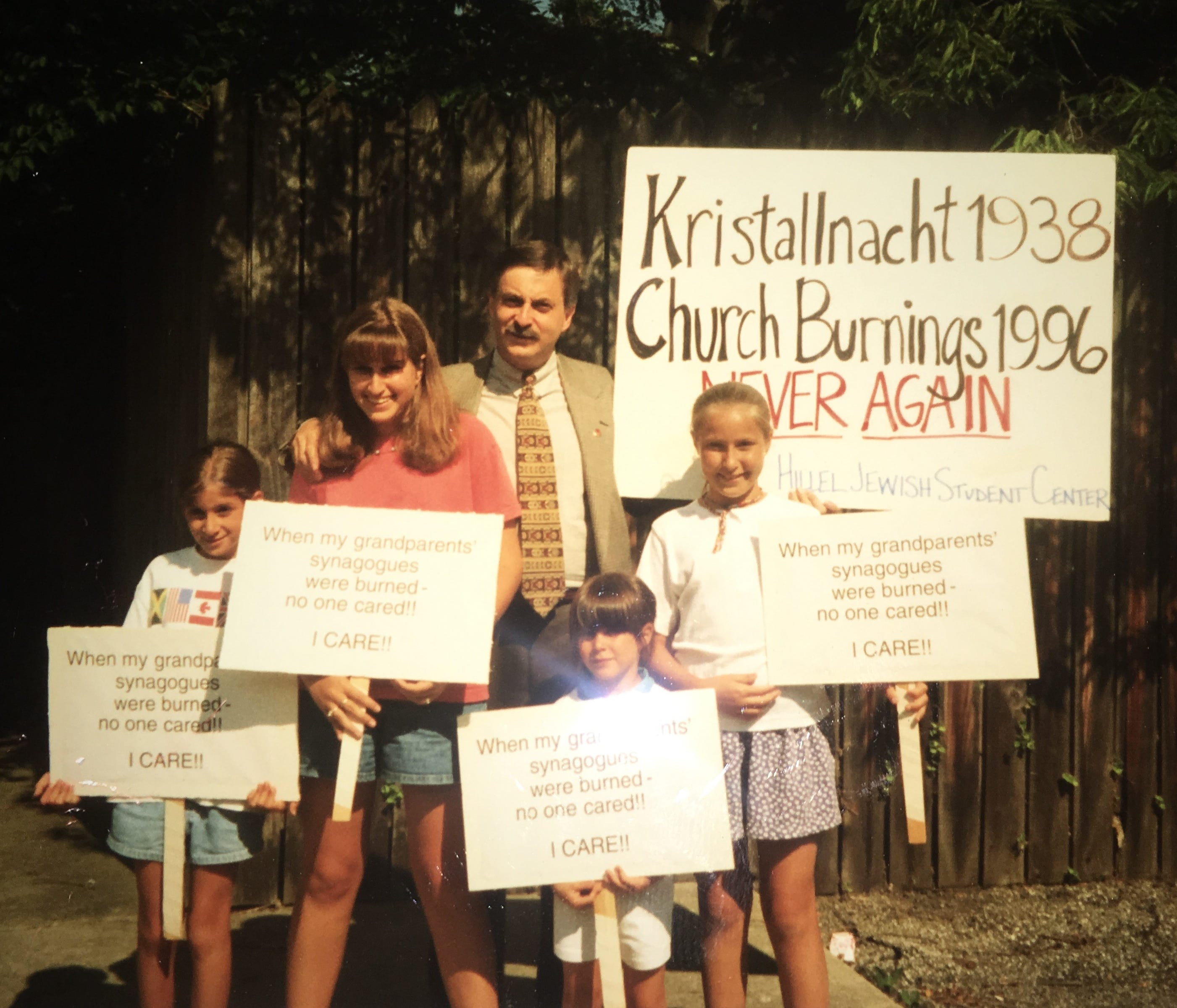 Abie Inger and his four daughters at a street protest in Avondale in 1996.