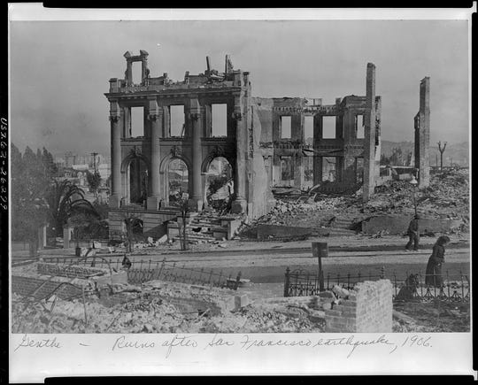 The ruins in San Francisco after the great 1906 earthquake.