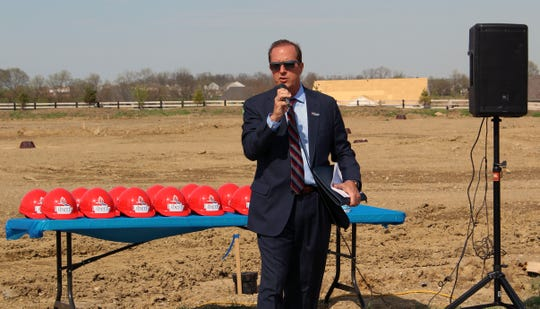 Liberty Township Trustee President Steve Schramm gave opening remarks before the groundbreaking ceremony for the township's new administrative offices that will be constructed on Ohio 747.