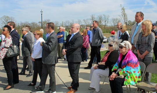 About three dozen people were present for groundbreaking ceremonies for Liberty Township's new administrative offices, which will be constructed on Ohio 747.