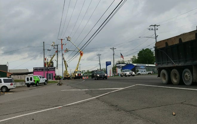 A wreck brought down power lines on Providence Boulevard on Thursday, April 18, 2019.