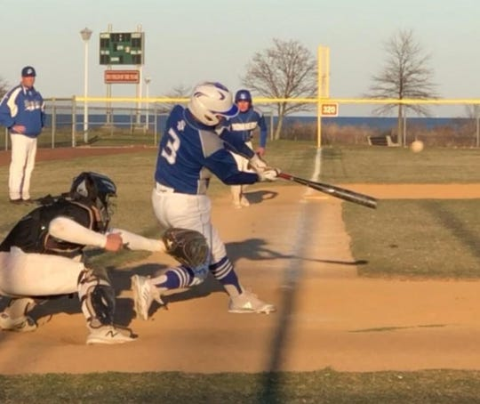 Ethan Calcano takes a cut for Sayreville during a recent game at Waterfront Park