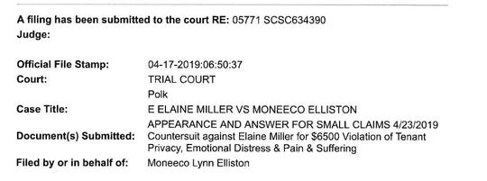Moneeco Elliston filed a countersuit against Elaine Miller after the landlord tried to evict her.