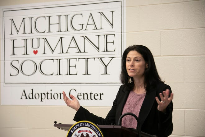 Michigan Attorney General Dana Nessel joins representatives from the United States Humane Society Thursday, April 18, 2019 for a media availability with adoptable dogs from the Michigan Humane Society to bring attention to the importance of recognizing and stopping puppy scams in the state.