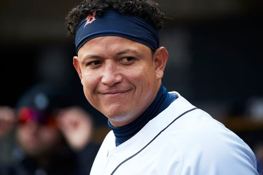 Detroit Tigers first baseman Miguel Cabrera in the dugout during a game against the Pittsburgh Pirates at Comerica Park, Wednesday, April 17, 2019.