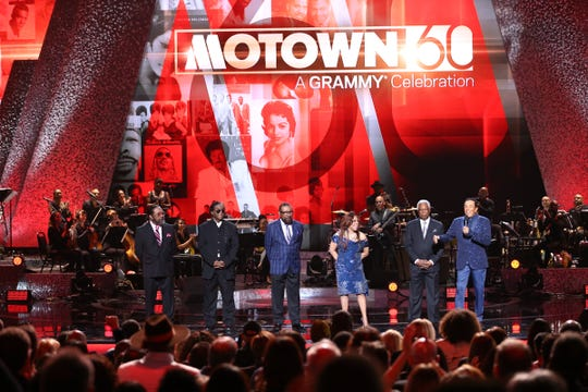 """Eddie Holland, Lamont Dozier, Brian Holland, Valerie Simpson, William (Mickey) Stevenson and Smokey Robinson appear onstage during """"Motown 60: A Grammy Celebration."""""""