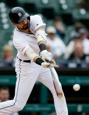 Tigers right fielder Nicholas Castellanos singles against the Chicago White Sox during the fifth inning on Thursday, April 18, 2019, at Comerica Park.