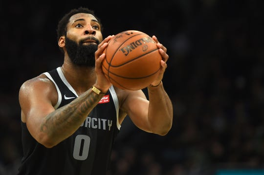 Andre Drummond shoots a free throw during Game 2 of the playoffs April 17, 2019, in Milwaukee.