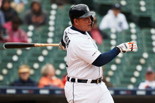 Tigers first baseman Miguel Cabrera hits an RBI single in the seventh inning on Thursday, April 18, 2019, at Comerica Park.