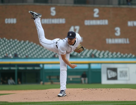 Detroit Tigers' Spencer Turnbull pitches against the Pittsburgh Pirates during the first inning Wednesday, April 17, 2019 at Comerica Park in Detroit.