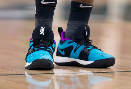 Shoes worn by Reggie Jackson during Game 2 of the playoffs April 17 in Milwaukee.