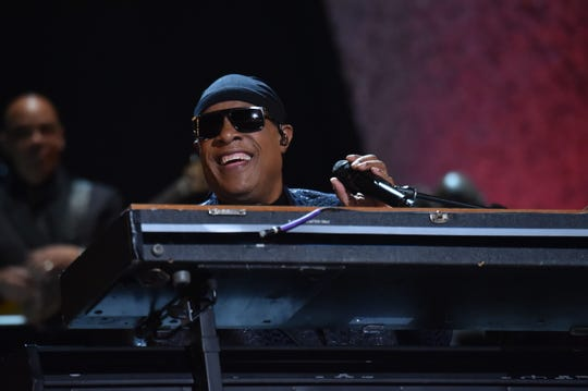 "Stevie Wonder performs during ""Motown 60: A Grammy Celebration"" at Microsoft Theater on Feb. 12, 2019, in Los Angeles."