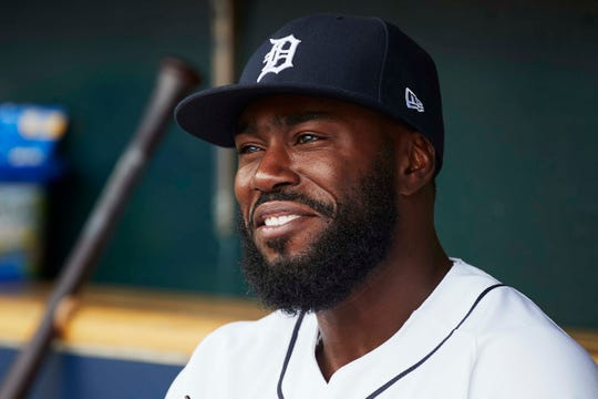 Tigers second baseman Josh Harrison in the dugout prior to the game on Thursday, April 18, 2019, at Comerica Park.