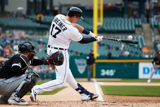 Tigers catcher Grayson Greiner hits an RBI double in the second inning on Thursday at Comerica Park.