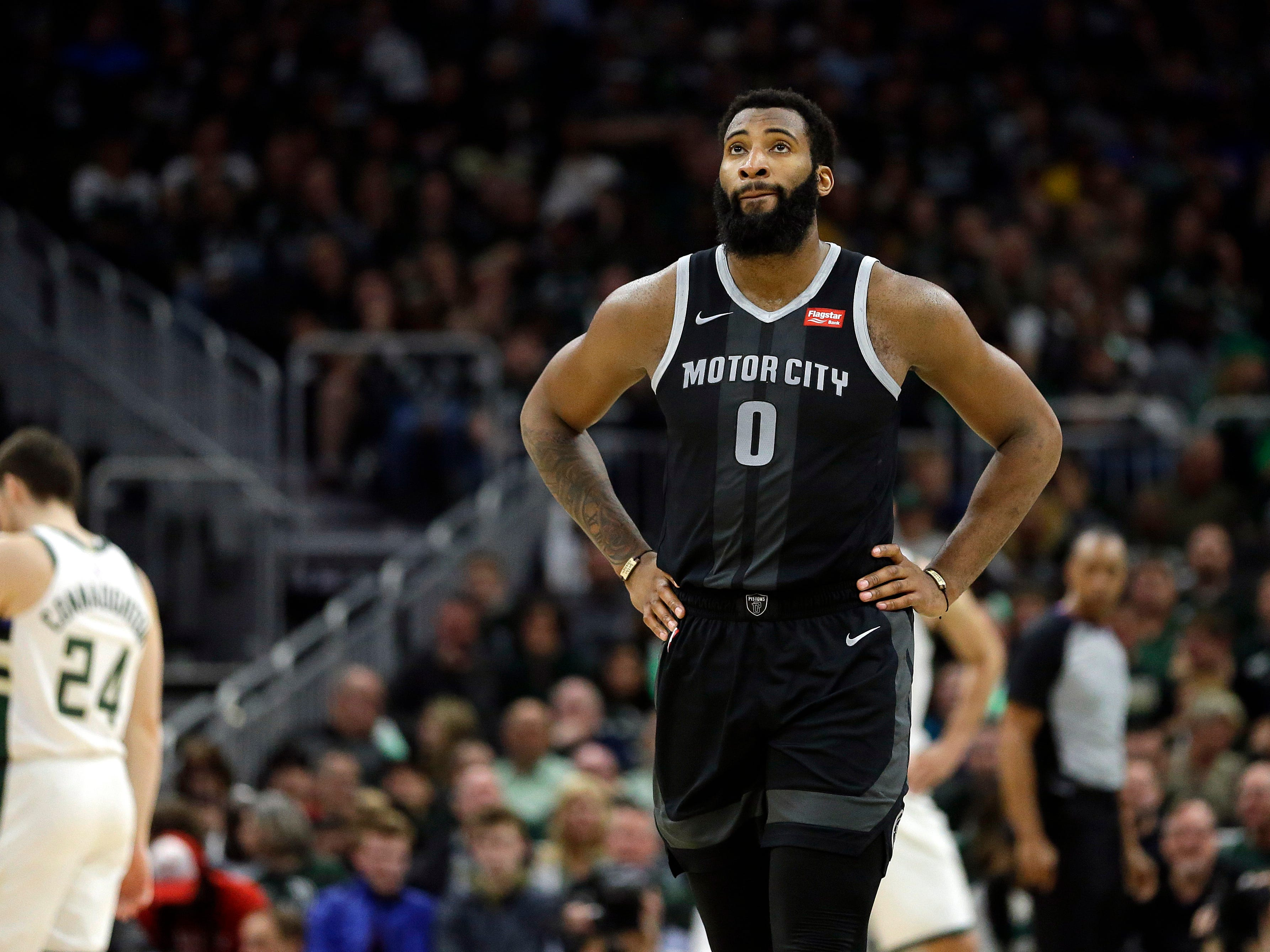 Detroit's Andre Drummond and the Pistons fall to the Milwaukee Bucks 120-99 in game 2 at the Fiserv Forum in Milwaukee, Wisconsin on April 17, 2019.